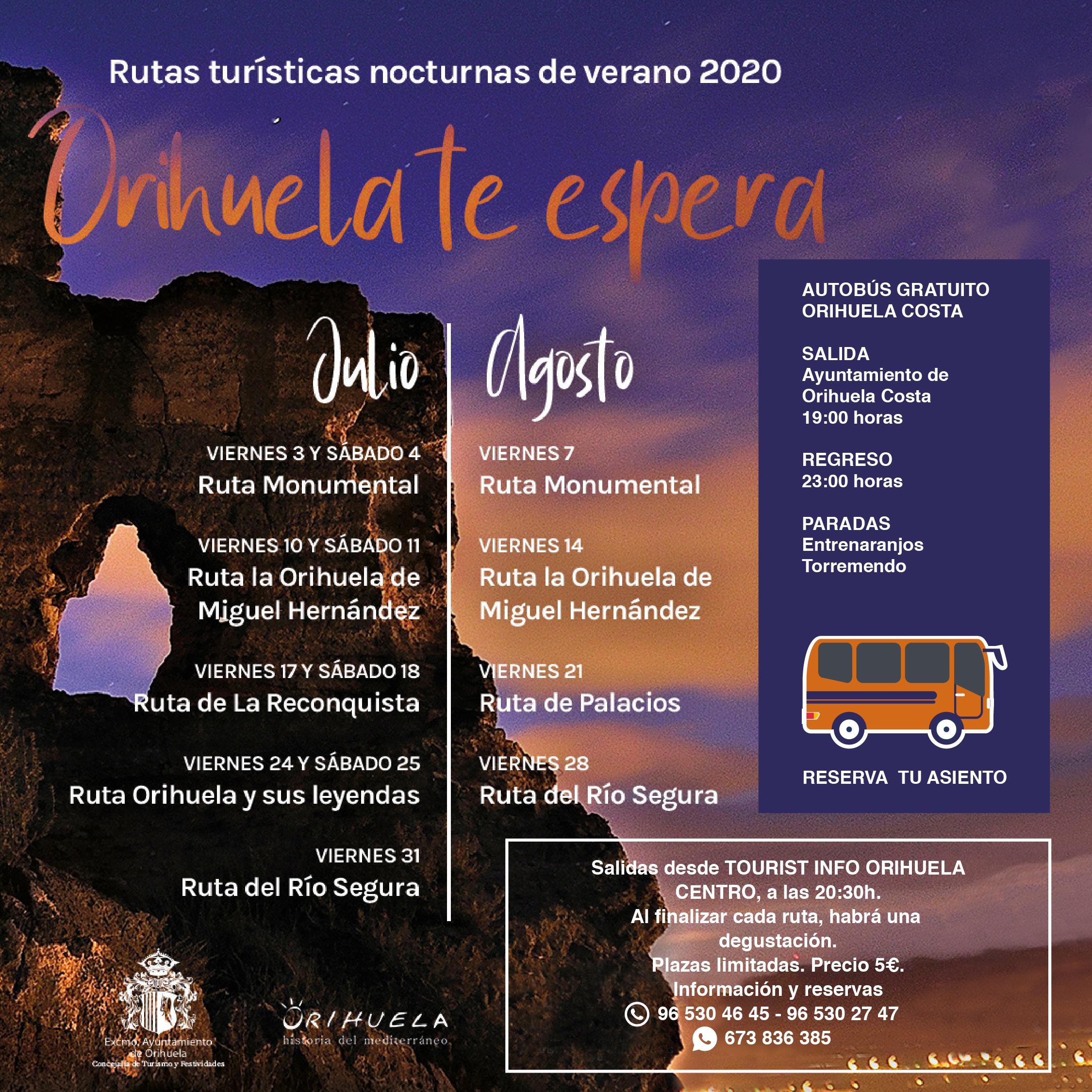 ruta turistica nocturna Orihuela
