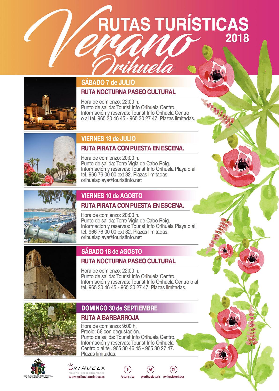 Rutas Turisticas Orihuela Verano 2018